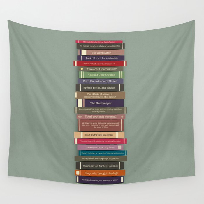 Ghostbusters stacked books Wall Tapestry