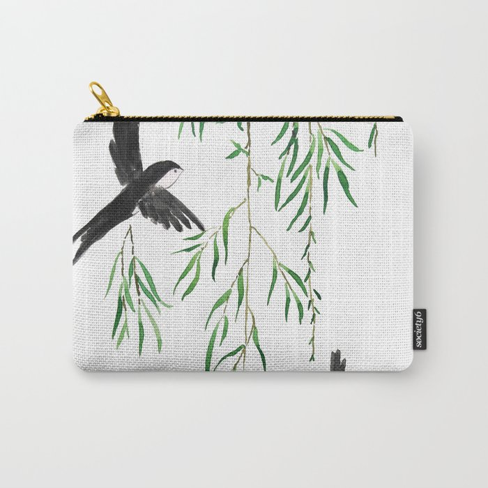 green willow leaf and swallow watercolor Carry-All Pouch