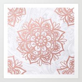 Rose Gold Mandalas on Marble Art Print