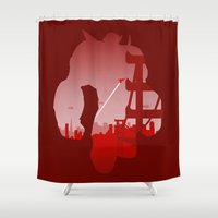 baymax Shower Curtains featuring Baymax Cityscape by Travis Love