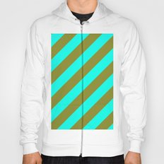 Cyan Blue And Army Khaki Green Stripes Hoody