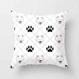 American Eskimo Paw Print Pattern Throw Pillow