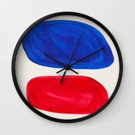 Mid Century Modern Retro Minimalist Colorful Shapes Phthalo Blue Red Rothko Pebbles Wall Clock