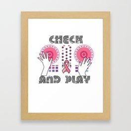 Naughty Breast Cancer Awareness Art For Women Light Framed Art Print