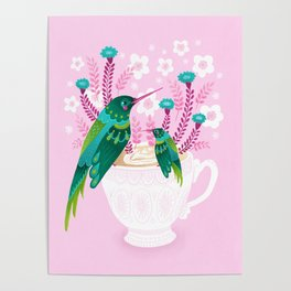 Hummingbirds on Teacup Poster
