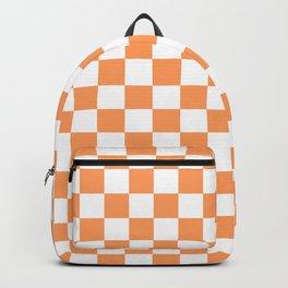 Gingham Orange Mango Checked Pattern Backpack