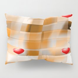 Little Red Hearts over Amber Tiles Pillow Sham