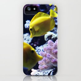 Under the Sea Swimming Yellow Fish Coral Reef Sea Anemone Underwater Photography Wall Art Print iPhone Case