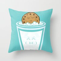 hot Throw Pillows featuring Hot Tub Cookie by Teo Zirinis