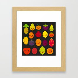 kawaii fruit Pear Mangosteen tangerine pineapple papaya persimmon pomegranate lime Framed Art Print