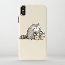Raccoon on Bongos iPhone Case