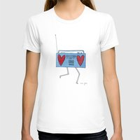 boombox with hearts White MEDIUM Womens Fitted Tee