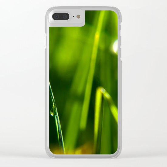 Dew on grass at early backlight Clear iPhone Case