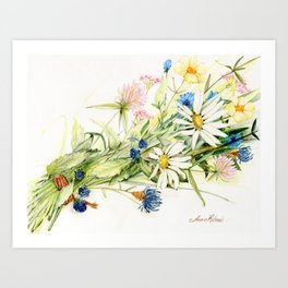 Bouquet of Wildflowers Original Colored Pencil Drawing Art Print