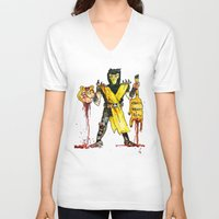 garfield V-neck T-shirts featuring Scorpion Vs. Garfield by Max Scoville