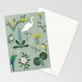 """""""Tropical Birds and Flowers"""" on Sage Green by Bex Morley Stationery Cards"""