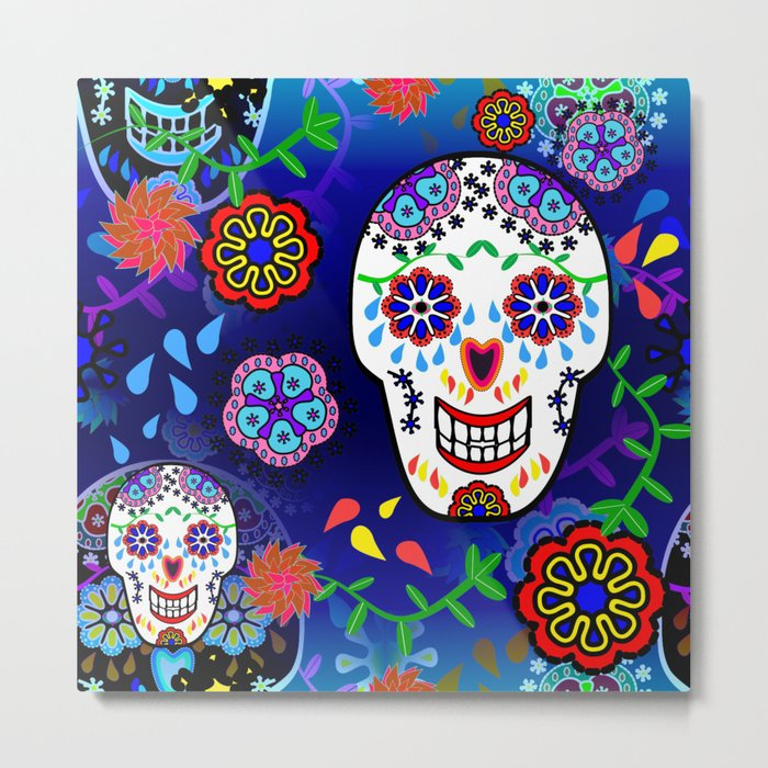 Sugar Skulls in Blue Metal Print