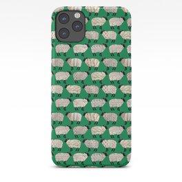 Wee Wooly Sheep in Aran Sweaters (shamrock green) iPhone Case
