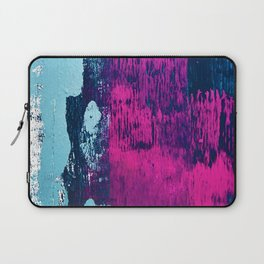 Early Bird: A vibrant minimal abstract piece in blues and pink by Alyssa Hamilton Art Laptop Sleeve