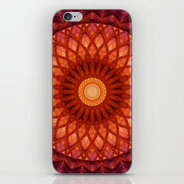 Flowery mandala in red and orange colours iPhone Skin