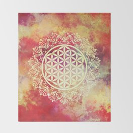 Flower Of Life (Sunset Skies) Throw Blanket