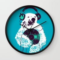 record Wall Clocks featuring Record Bear by Picomodi