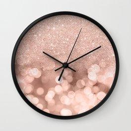 Modern rose gold glitter ombre pink rose gold bokeh sparkles Wall Clock