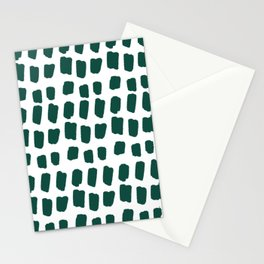 Green Abstract Paint Splotches Stationery Cards