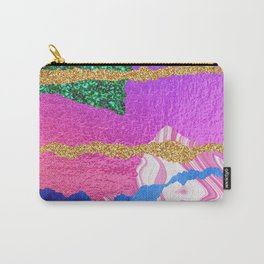 Mixed Media Abstract in Pinks & Lilac With Glitter Carry-All Pouch