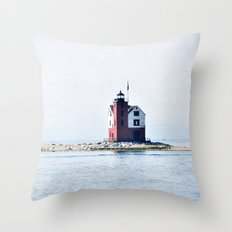 Round Island Lighthouse Throw Pillow