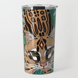 ocelot jungle green Travel Mug