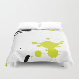 Lime Green Abstract Rick Genest Duvet Cover