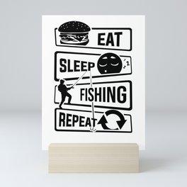 Eat Sleep Fishing Repeat - Fishing Fisherman Mini Art Print