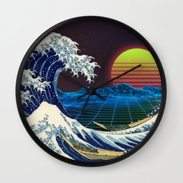 Synthwave Space #9: The Great Wave off Kanagawa Wall Clock