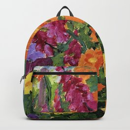 Floral Garden of Iris, Marigold, and Pansies still life floral portrait painting by Emil Nolde Backpack