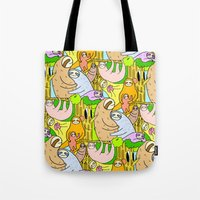 sloths Tote Bags featuring Sloths by Vincy Cheung