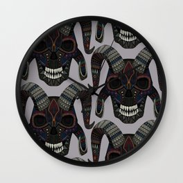 demon skull heather Wall Clock