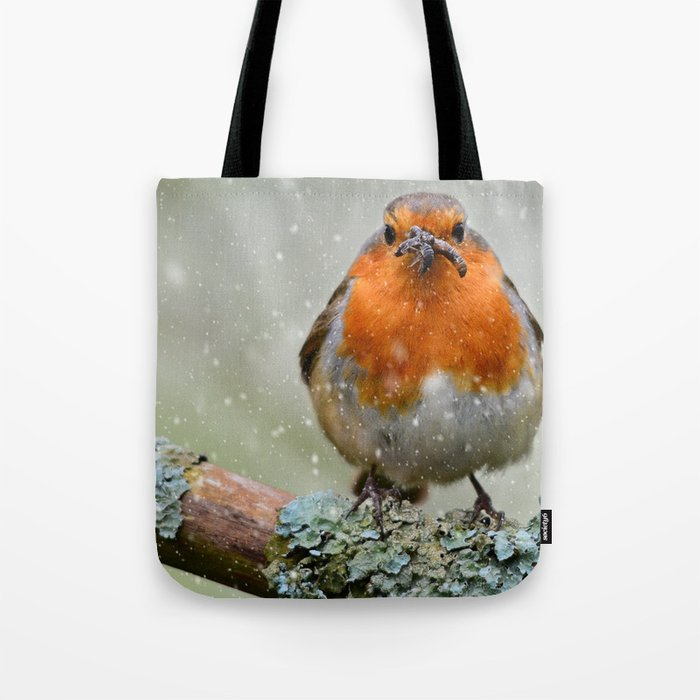 Chubby Winter Robin Tote Bag