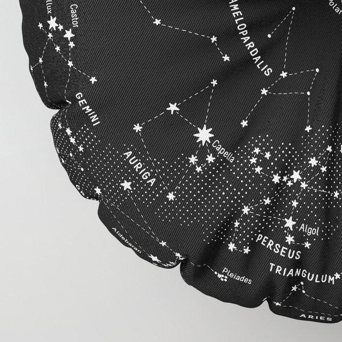 Constellation Map - Black Floor Pillow