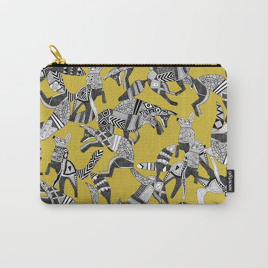 woodland fox party ochre yellow Carry-All Pouch