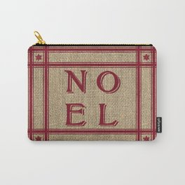 NOEL Burlap Red Carry-All Pouch