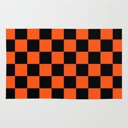 Black and Orange Checkerboard Pattern Rug