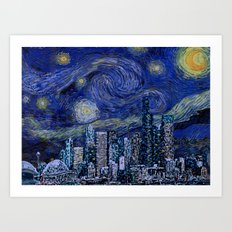 Seattle Starry Night Art Print