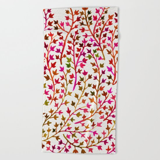 Pink Ivy Beach Towel