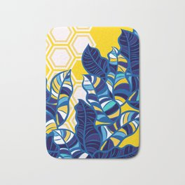 Geo Pop Foliage on Yellow & White Bath Mat