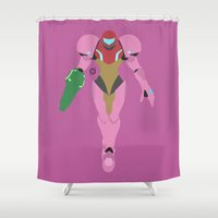 samus Shower Curtains featuring Samus(Smash)Pink Suit by ejgomez