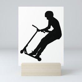Getting Air! - Stunt Scooter Boy Silhouette Mini Art Print