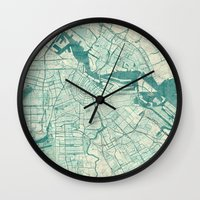 vintage map Wall Clocks featuring Amsterdam Map Blue Vintage by City Art Posters