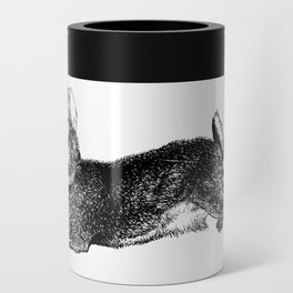 The Rabbit and Roses | Black and White Can Cooler