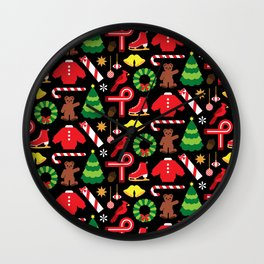 Cardinals & Candy Canes Wall Clock